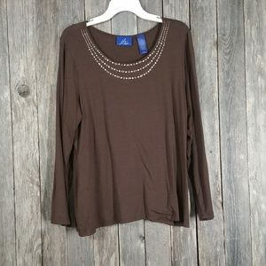 JH Collectibles Brown Stretch Knit Top Beaded
